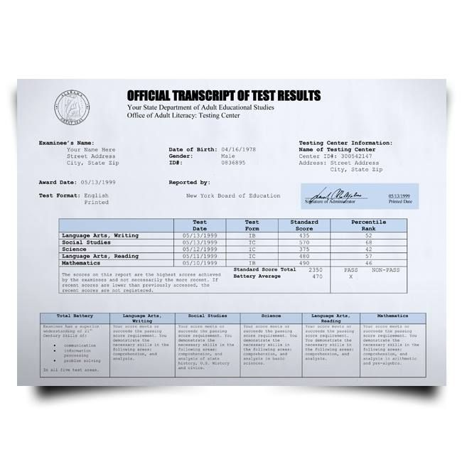 Buy Fake GED Transcript from USA! New 2020 Classes! Embossed! Most Lifelike Novelty! For $79.00!
