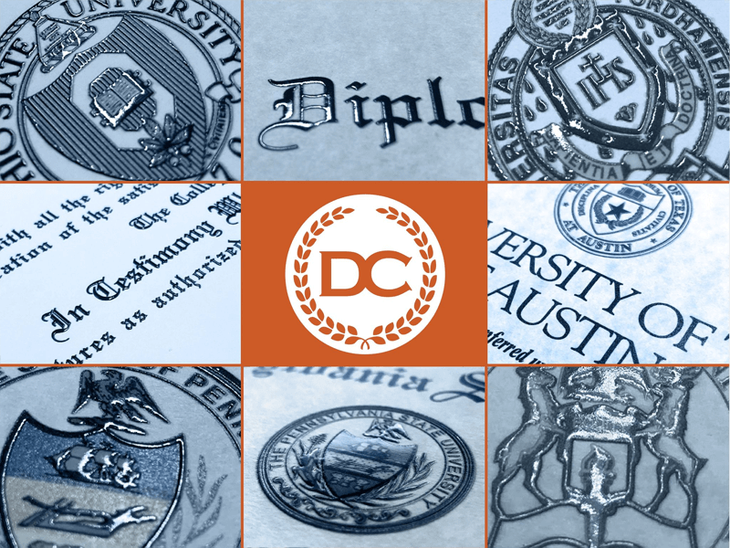 raised text embossed seals and logos fake diplomas