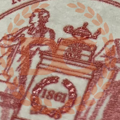 embossed red seal on fake mit diploma