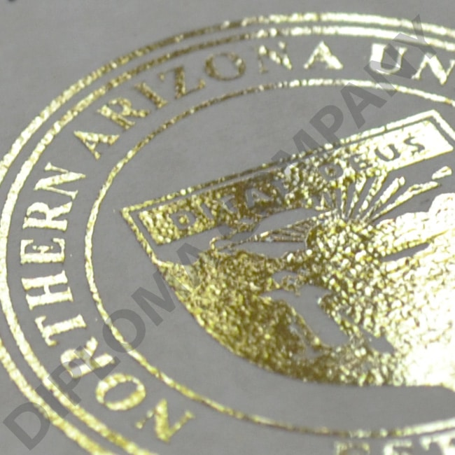 shiny gold seal on fake northern Arizona university diploma