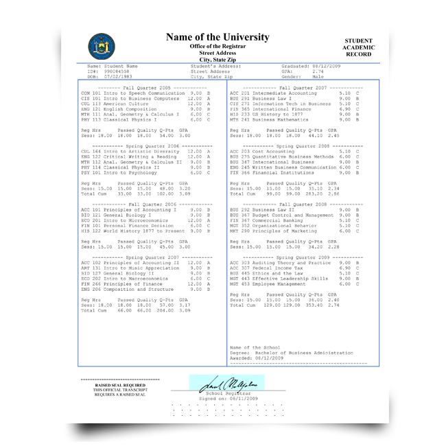 Buy college transcript paper