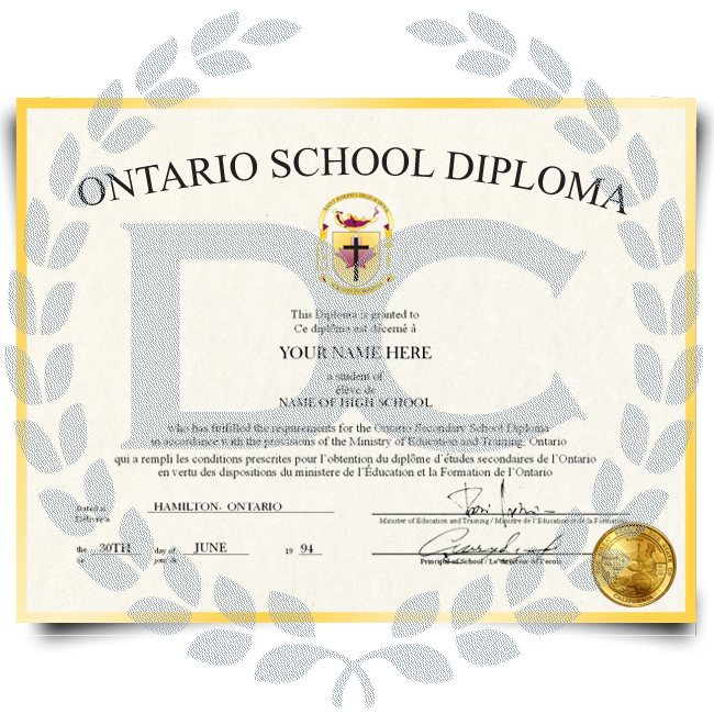 Fake High School Diploma from Canada