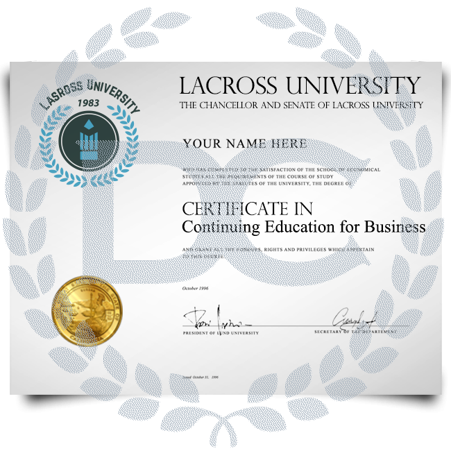 College certificate in continuing business education from University featuring shiny gold seal and hand signed on thick diploma paper
