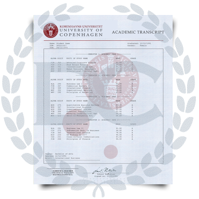 Set of signed University of Copenhagen transcripts on watermarked blue security academic paper featuring college class list and final grades