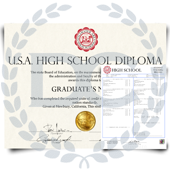 high school diploma from USA with shiny gold embossed state seal next to a set of academic transcript records with hologram on white paper