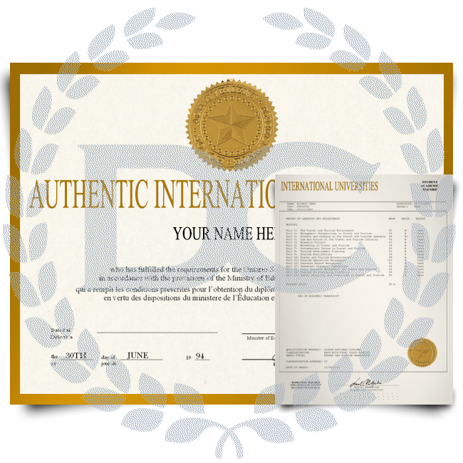 International diploma with shiny gold border featuring student graduate details next to set of matching academic transcript scores and grades