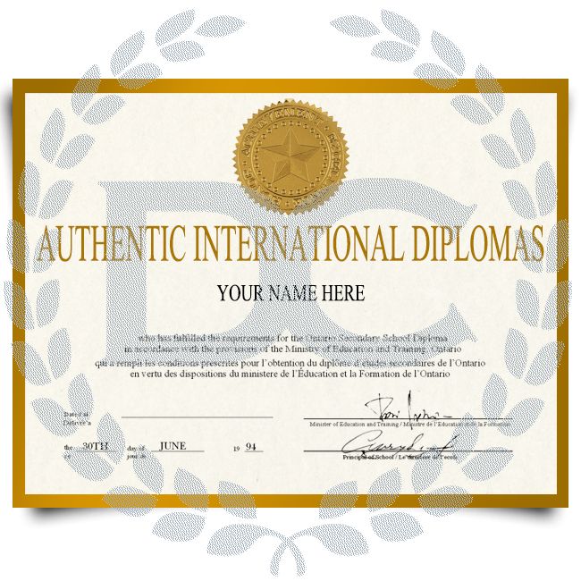 Copy of diploma from international university featuring shiny gold embossed seal on gold bordered paper with complete student and field of study details