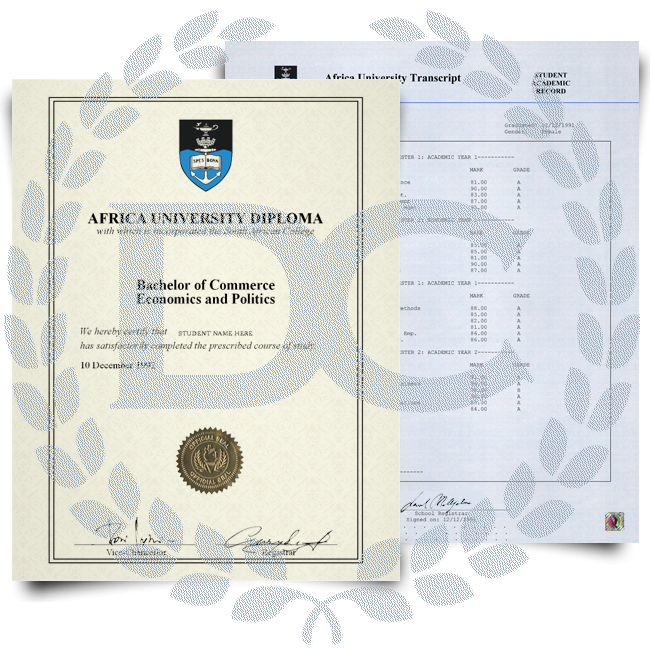 Diploma from South Africa university on border certificate paper with shiny gold embossed seal next to academic transcripts printed on blue security paper with hologram