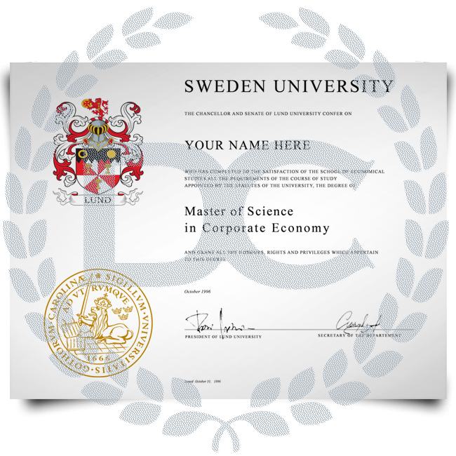 Signed diploma from Sweden university big shiny gold embossed college seal and coat of arms featuring student information and Mater of Science details