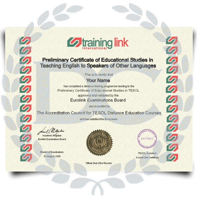 Order Fake TESOL! Features real certificate layouts! 100% custom-made and fully gauranteed!