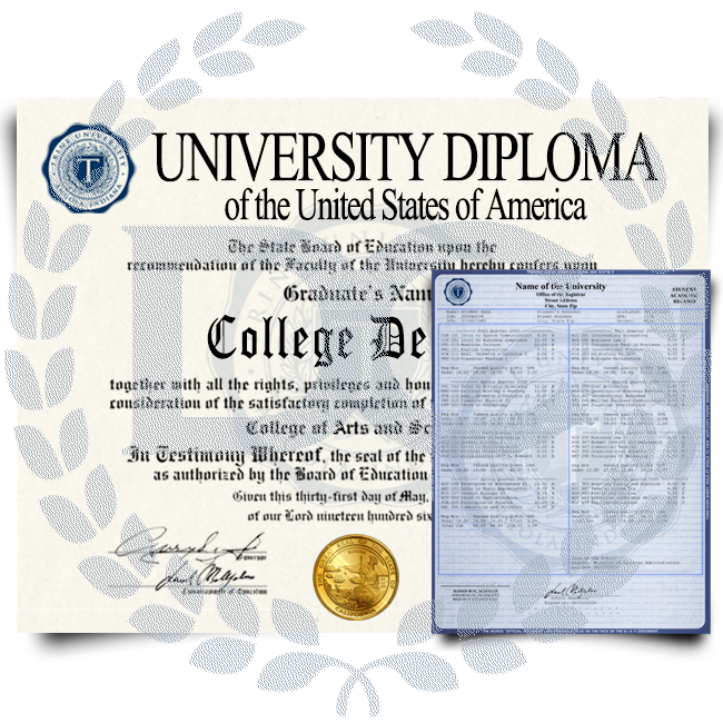 University diploma from USA college featuring shiny gold state seal with watermarked paper next to set of transcripts with classes on blue border academic security paper