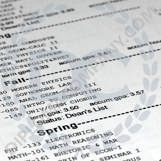up close image of academic college academic transcripts showing semester classes and grades
