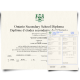 Canada high school diploma from Ontario in French and English with green crest next to set of academic transcript score sheets on security paper