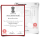 Set of India university diploma and acdemic transcript record set featuring red and black border watermarked paper with crest