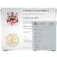 Diploma from Sweden university featuring coat of arm and shiny gold embossed seal next to set of academic mark sheet transcripts on watermarked security paper