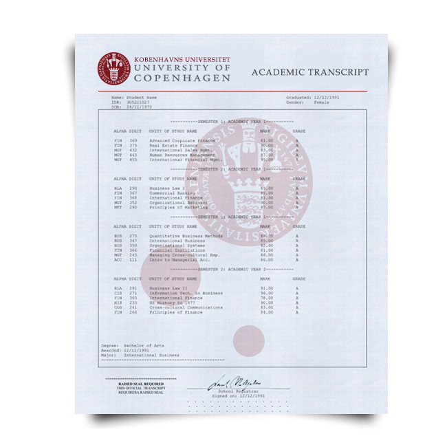 Buy Fake Transcript from Denmark University! New 2020 Classes! Embossed! Most Lifelike Novelty! For $199.00!