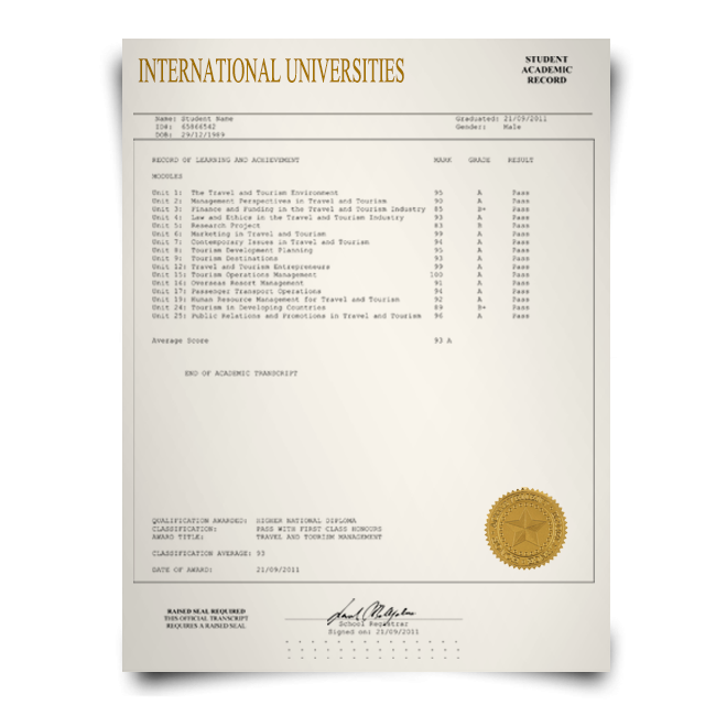 Order Fake Transcript from International University! New 2020 Classes! Embossed! Most Lifelike Novelty! For $199.00!