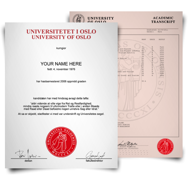 Fake Diploma & Transcript from Norway University! Total Package! Best Value! 100% Satisfaction Guaranteed! Just $379.00!