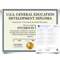 Fake GED Diploma & Transcript from USA! Total Package! Best Deal! 100% Satisfaction Guaranteed! Just $119.00!