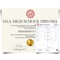 Fake High School Diploma & Trancript from USA! Total Package! Best Deal! 100% Satisfaction Guaranteed! Only $159.00!