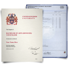 Fake Diploma & Transcript from United Kingdom University! Complete Package! Best Value! 100% Satisfaction Guaranteed! Only $379.00!