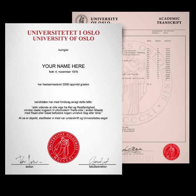 Fake Diploma & Transcript from Norway University