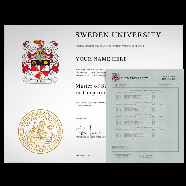 Fake Diploma & Transcript from Sweden University