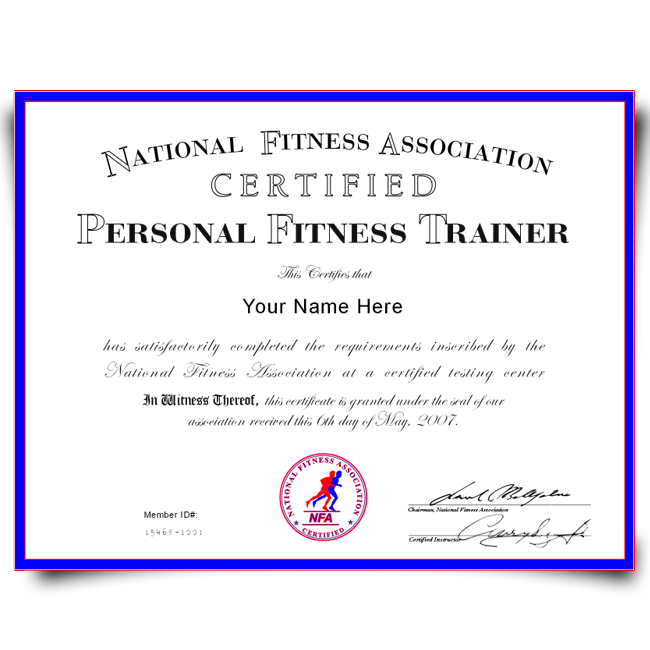 fake personal training certificate | diplomacompany