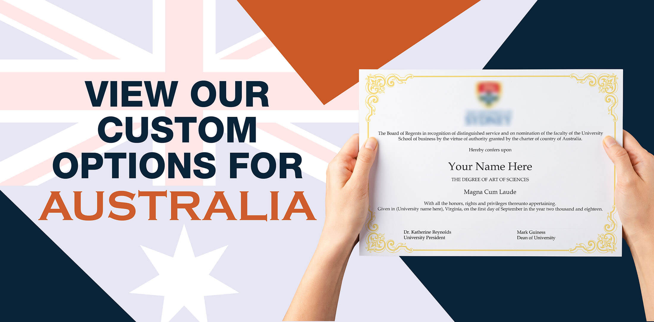 woman holding high quality realistic fake australia degrees from Diploma Company!