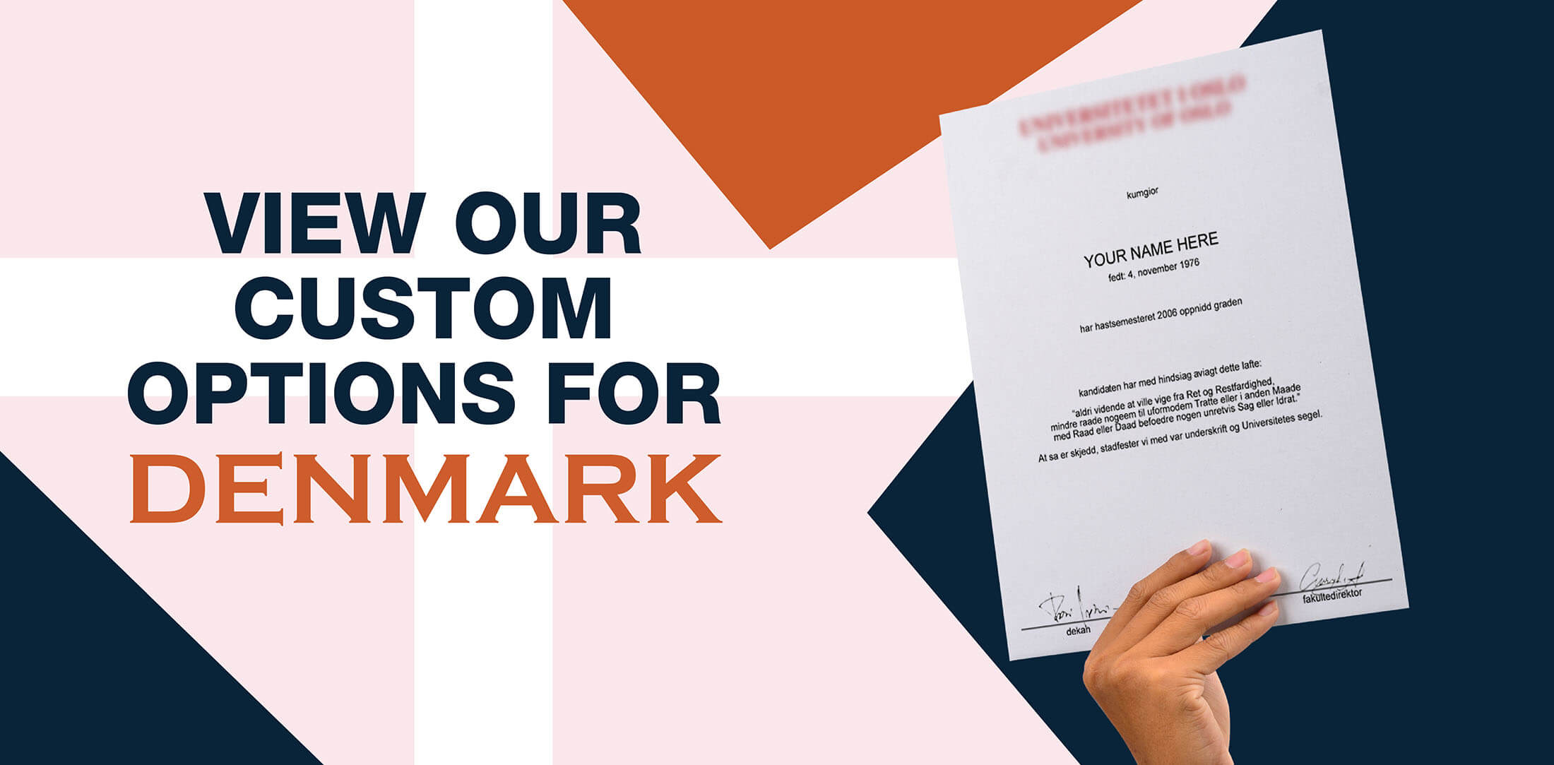 hands holding high quality realistic fake Denmark degrees from Diploma Company!