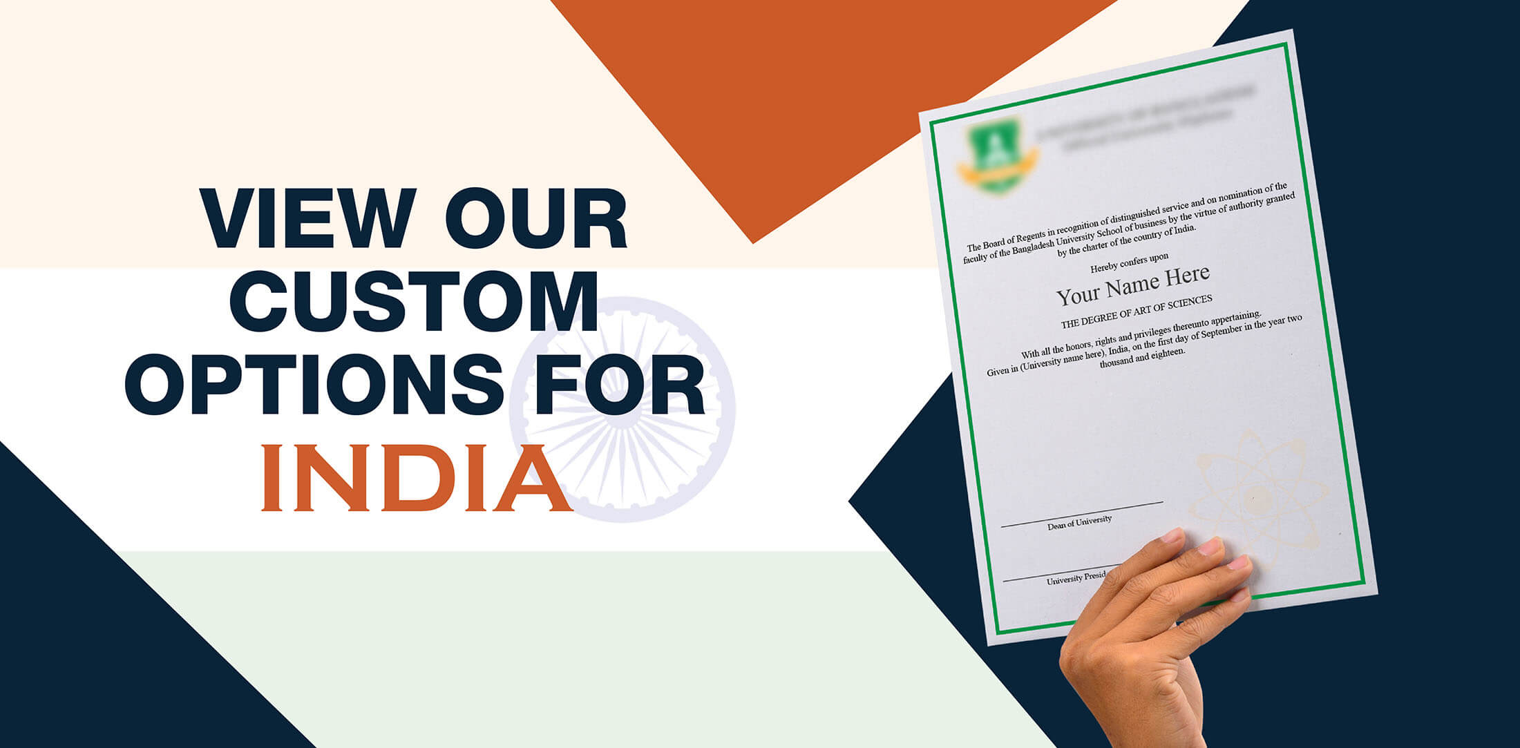 woman holding high quality realistic fake India degrees from Diploma Company!