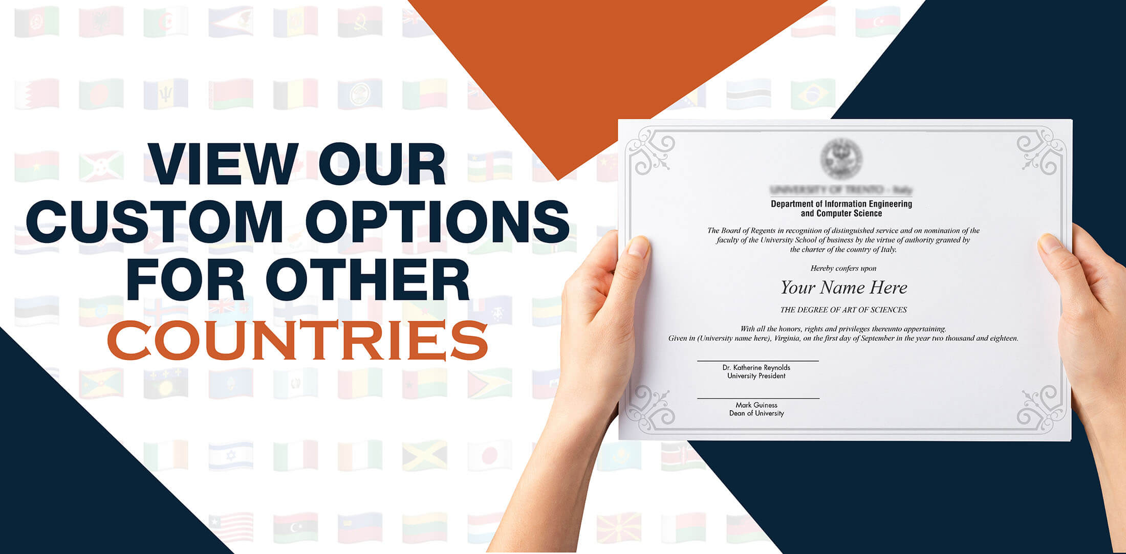 hands holding high quality realistic fake International degrees from Diploma Company!