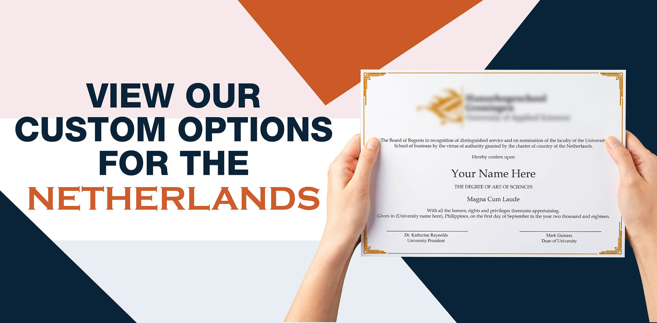 hands holding high quality realistic fake Netherlands degrees from Diploma Company!