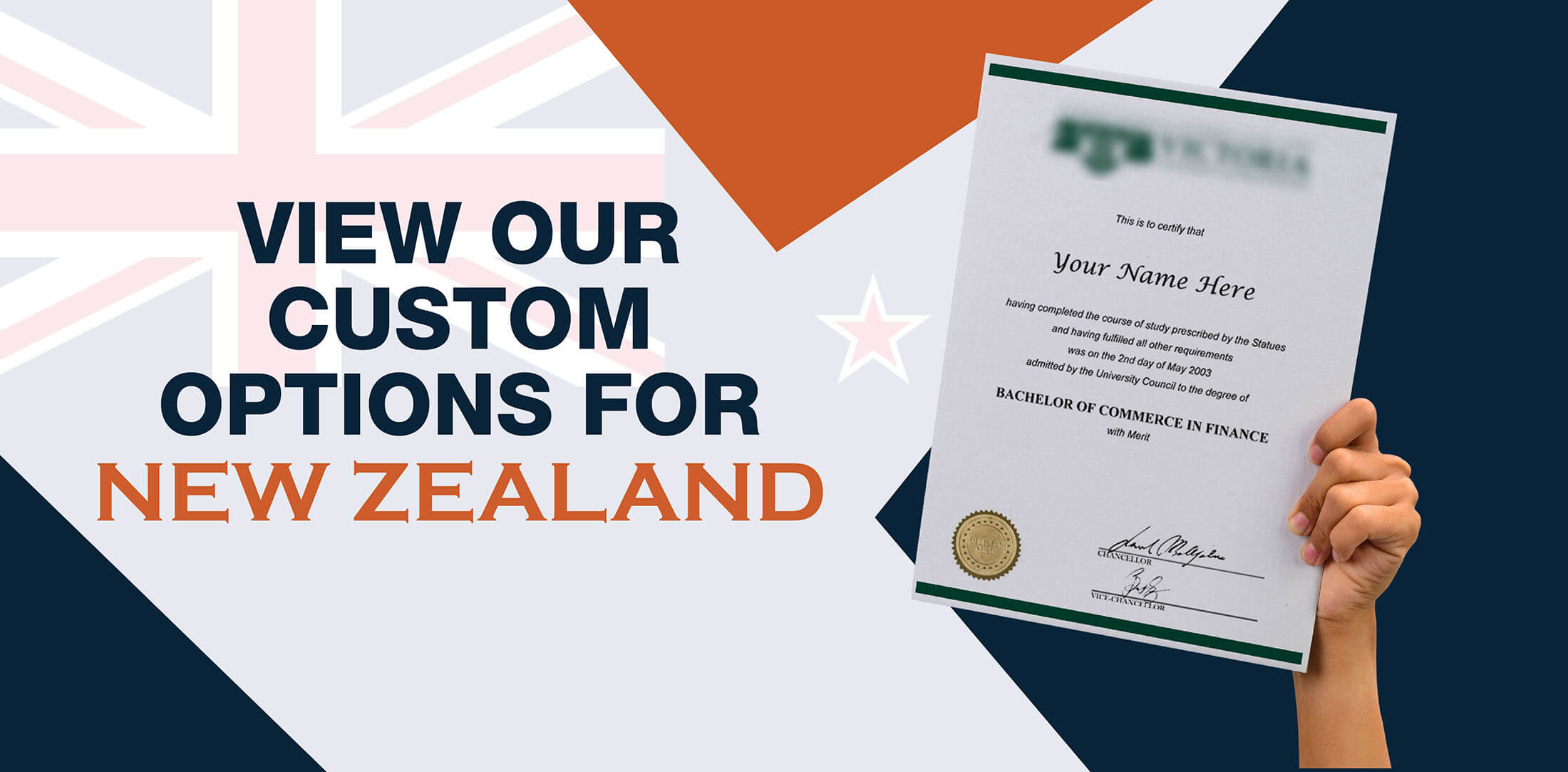 hands holding high quality realistic fake New Zealand degrees from Diploma Company!