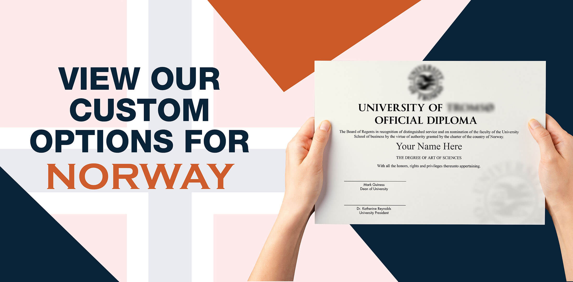 hands holding high quality realistic fake Norway degrees from Diploma Company!