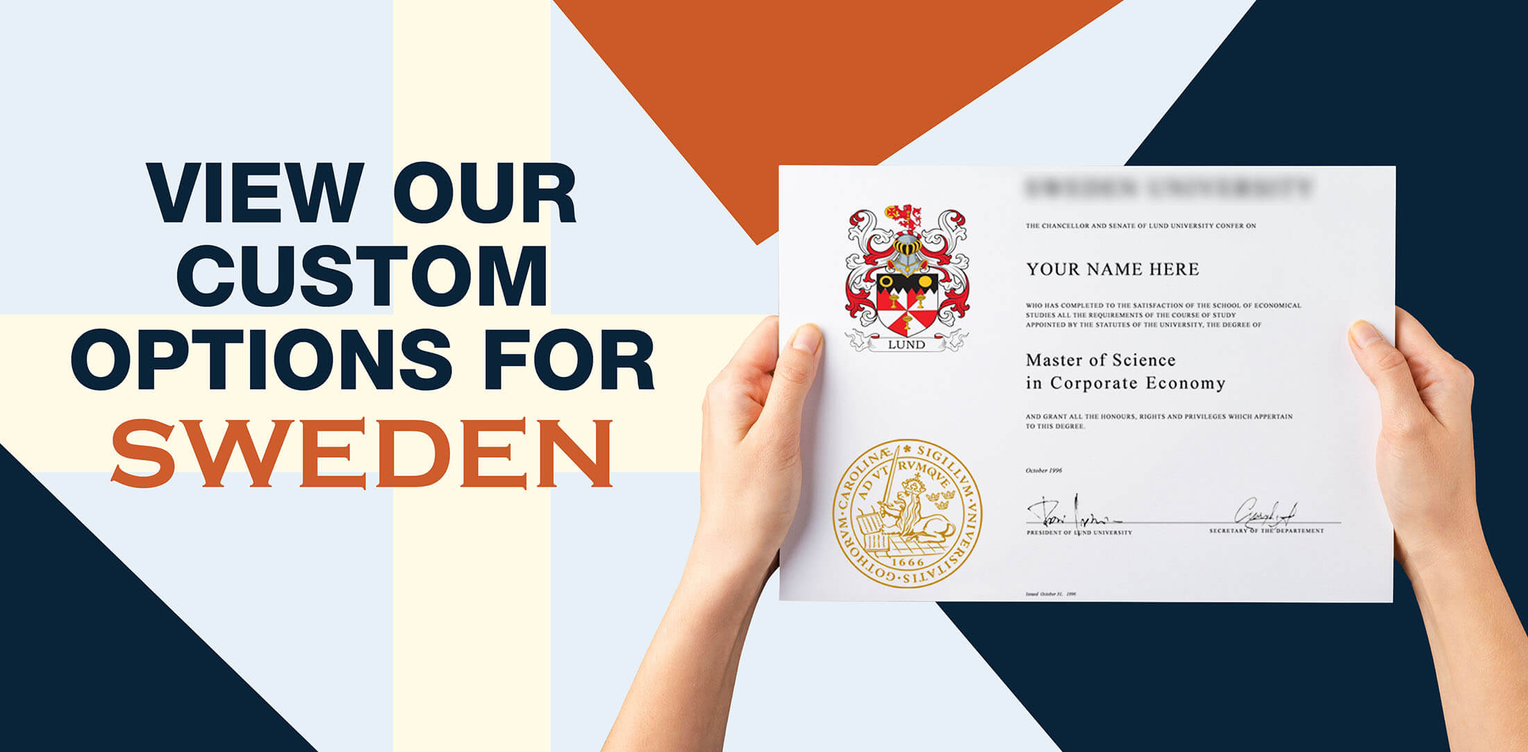 hands holding high quality realistic fake Sweden degrees from Diploma Company!
