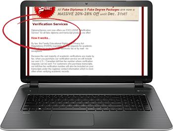 screenshot of defunct site diplomaxpress offering fake degree verification services circa 2011