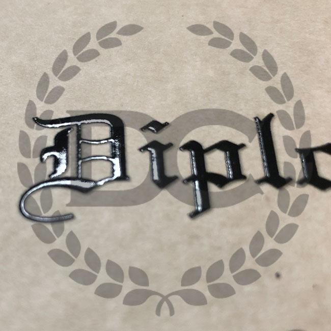 raised text on fake diplomas